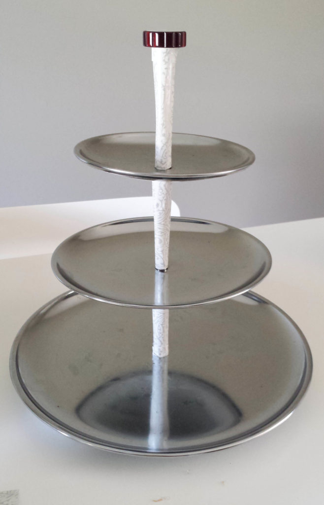 3-tiered tray, repurposed, stainless steel
