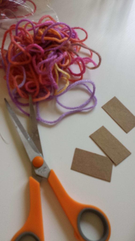 cardboard, yarn,materials