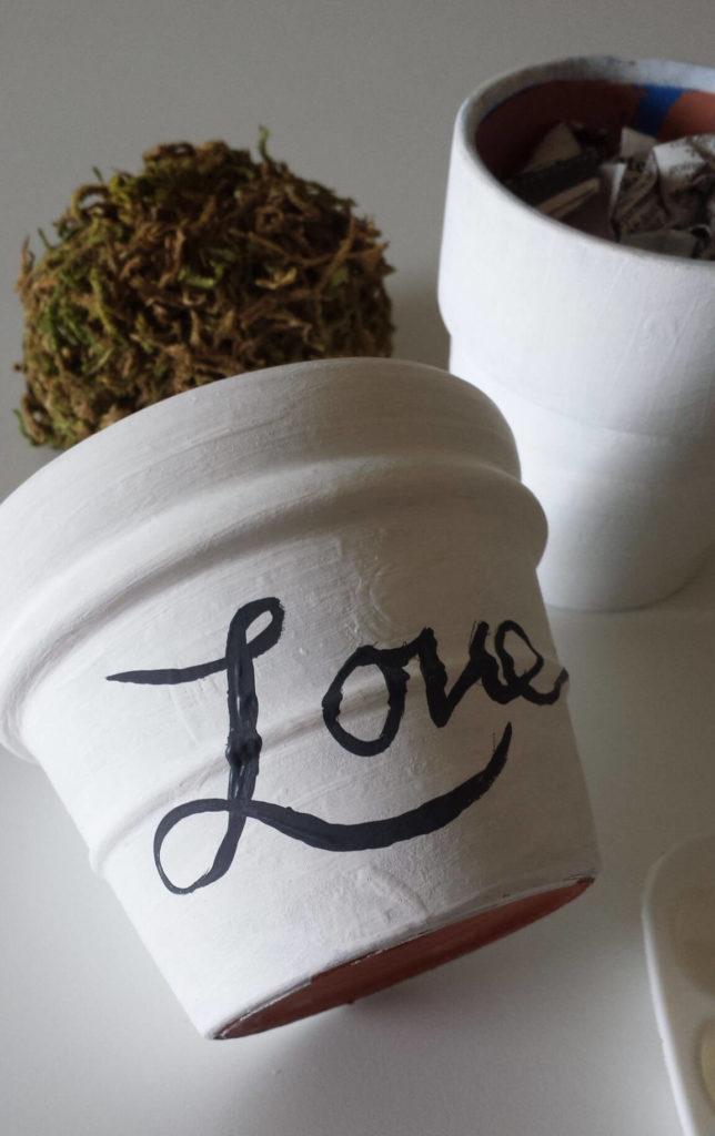 love word, handlettered,craft moss,clay pot,diy