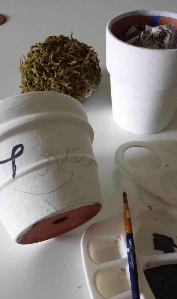 acrylic paint,hand lettered words,craft moss,clay pot,diy