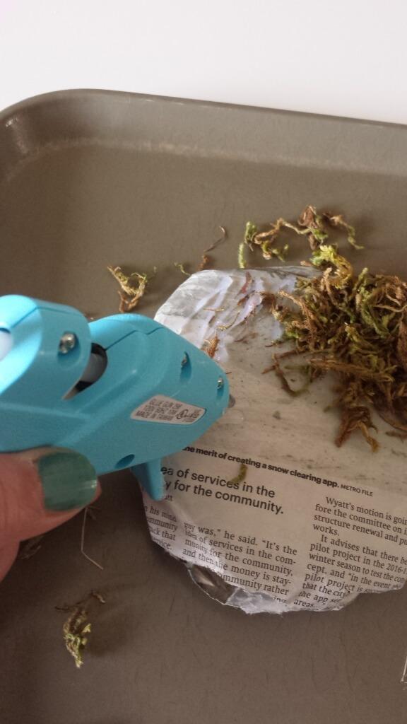glue gun,craft moss,clay pot,diy