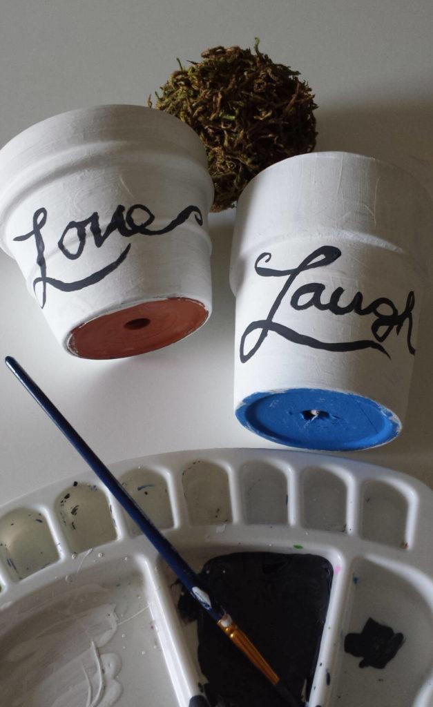 hand painted,craft moss,clay pot,diy
