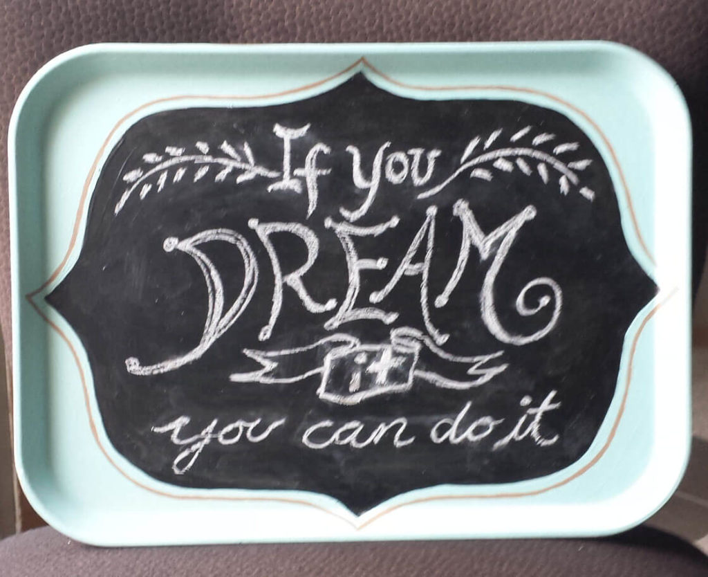 inspirational quote, hand drawn lettering,upcycled food tray, chalkboard diy
