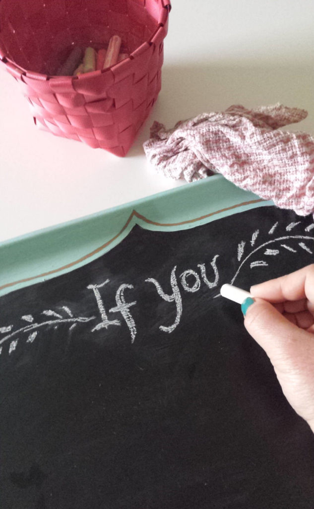 chalkboard lettering,upcycled food tray,chalkboard diy