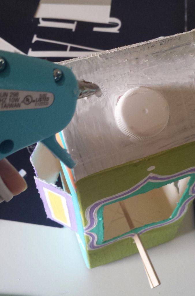 milk carton,juice carton,bird feeder,glue gun