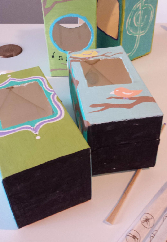 milk-carton,juice carton,bird feeder,black paint