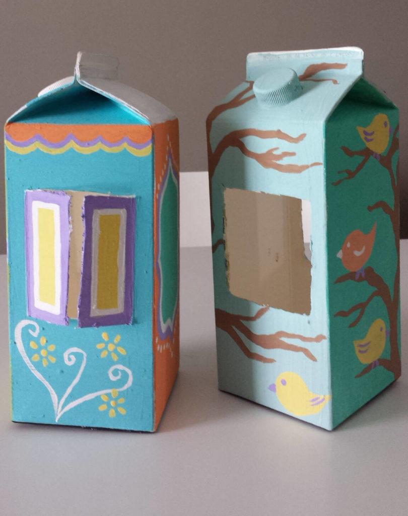 diy how to turn a milk and juice carton to a bird feeder