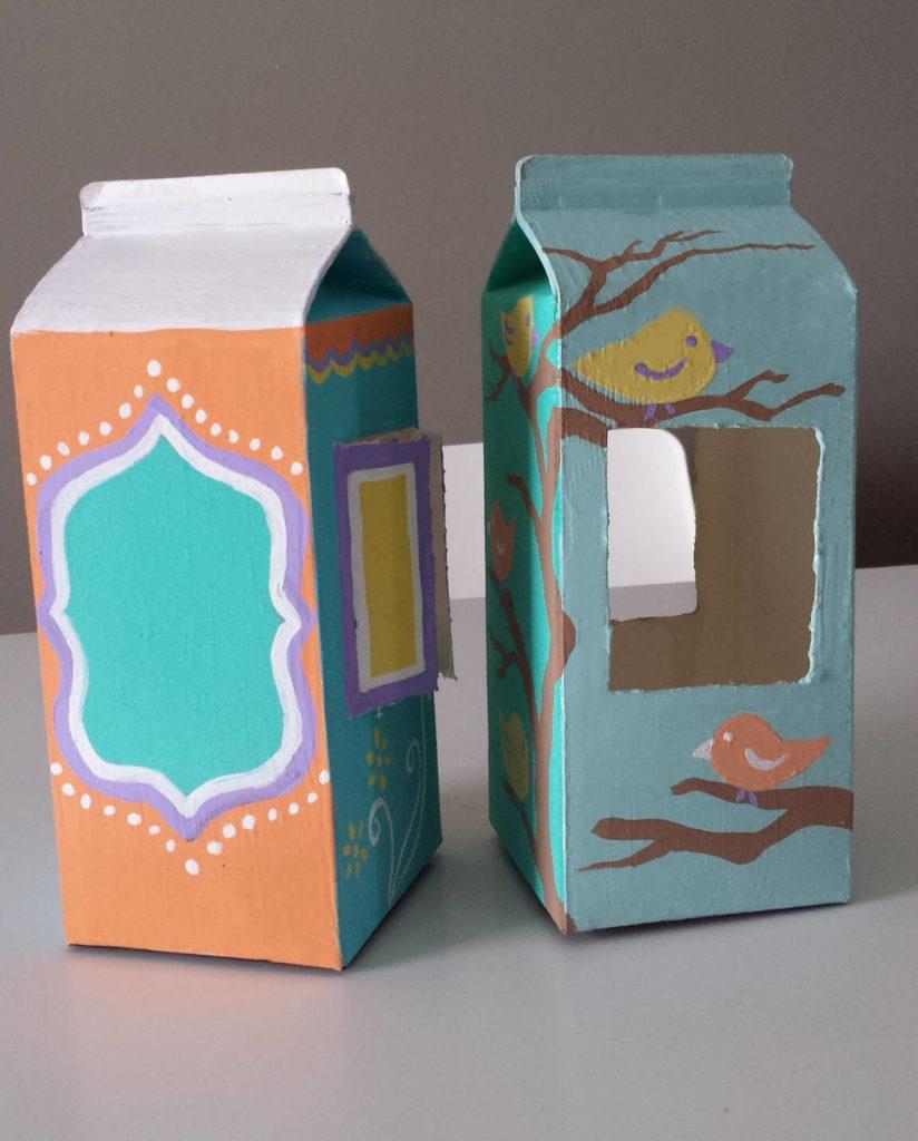 milk carton,juice carton,bird feeder,painted