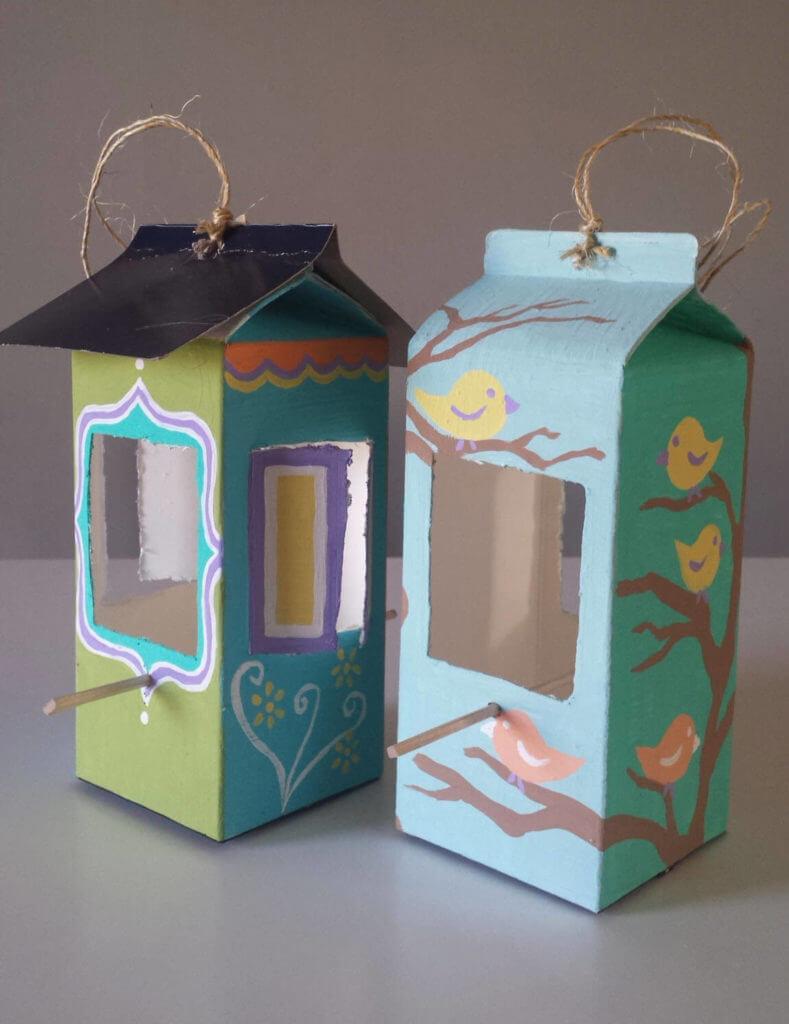 milk carton,juice carton,bird feeder,diy