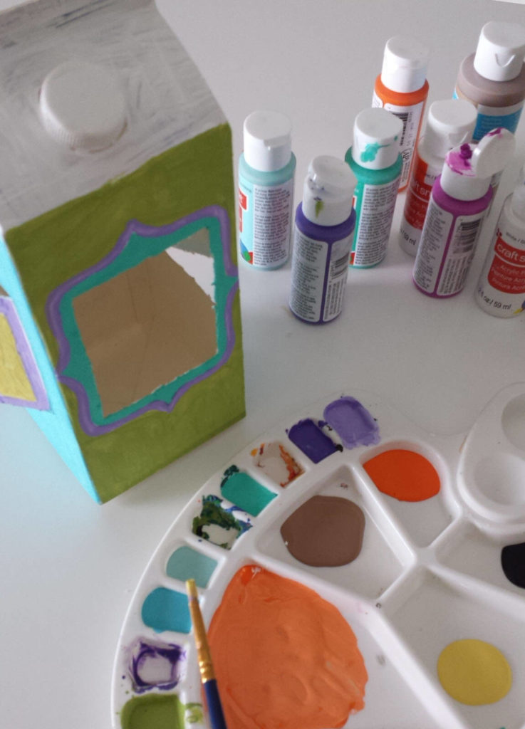 milk carton.juice carton,bird feeder,painting,acrylic paint