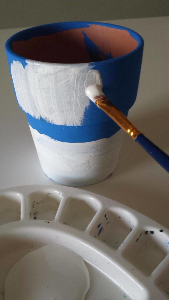 white paint,craft moss,clay pot,diy