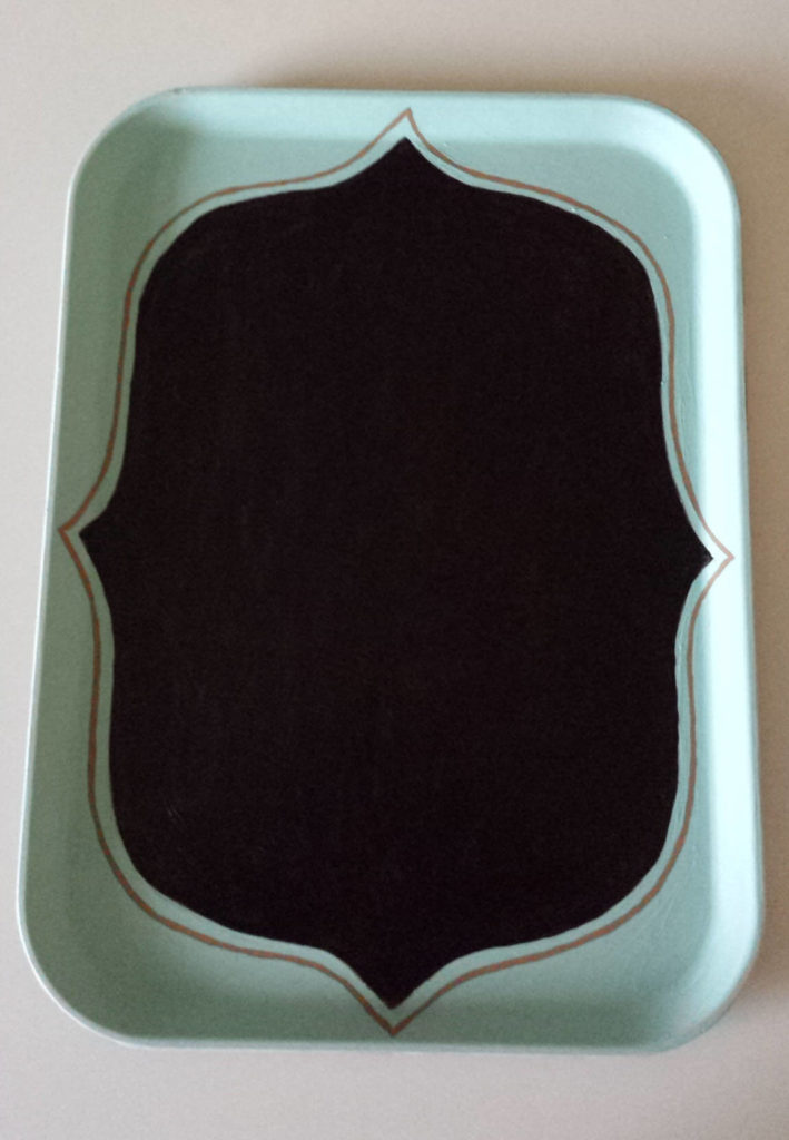 painted tray,upcycled food tray, chalkboard diy