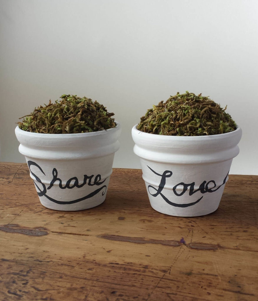 hand lettered,painted pots,craft moss,clay pot diy