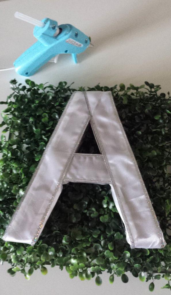 attach monogram diy to faux plant
