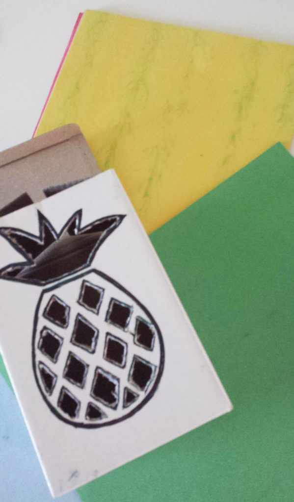 construction paper for tropical fruit box diy