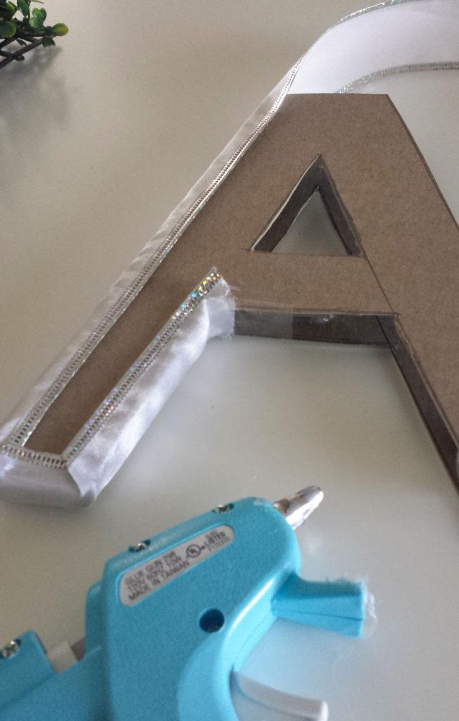 hot glue around letter monogram diy