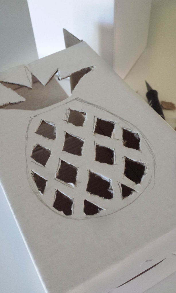 pineapple cut out on box