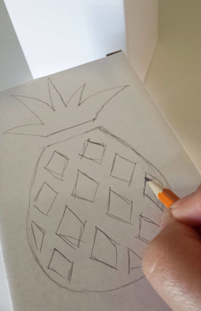 pineapple drawing on box