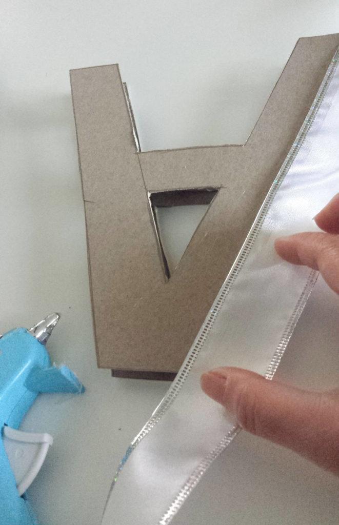 ribbon on letter monogram diy