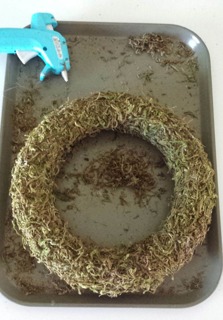 craft moss covered wreath