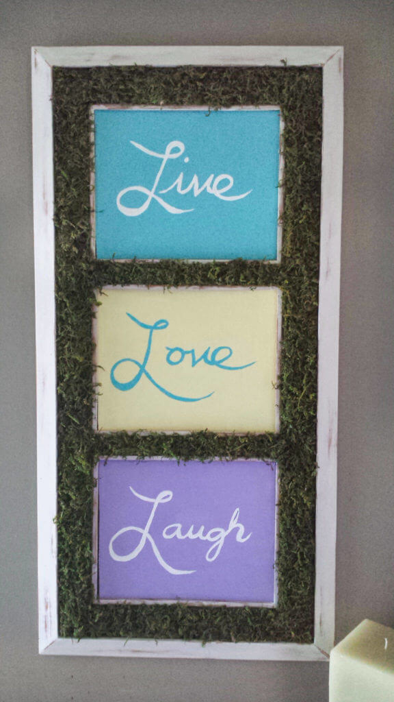 craft moss on framed typography decor diy