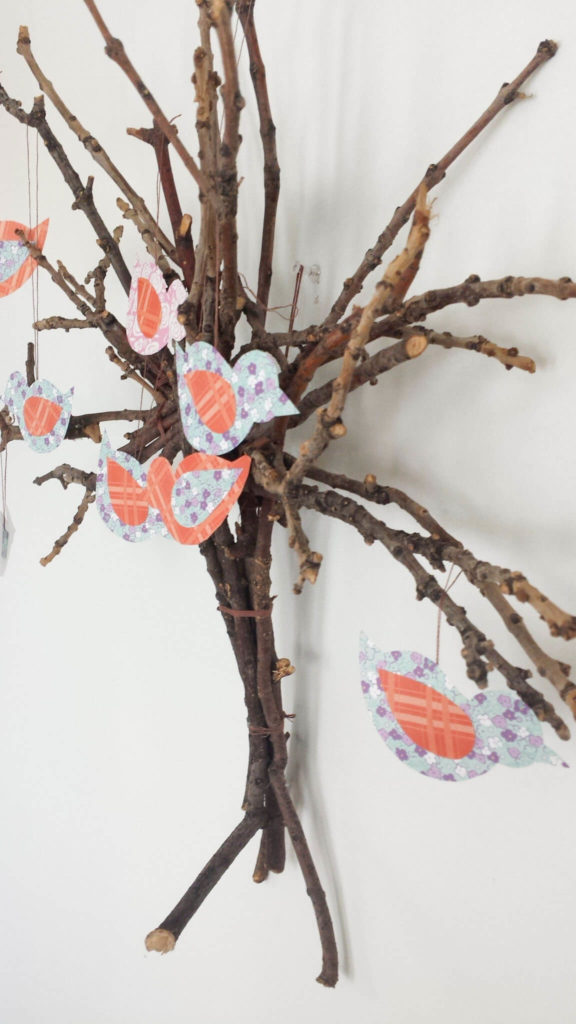sideview of twig tree wall decor diy