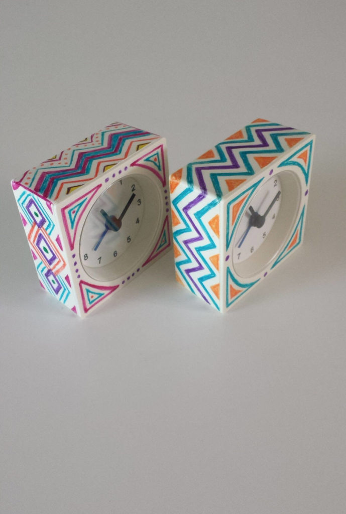 patterned sharpied alarm clock