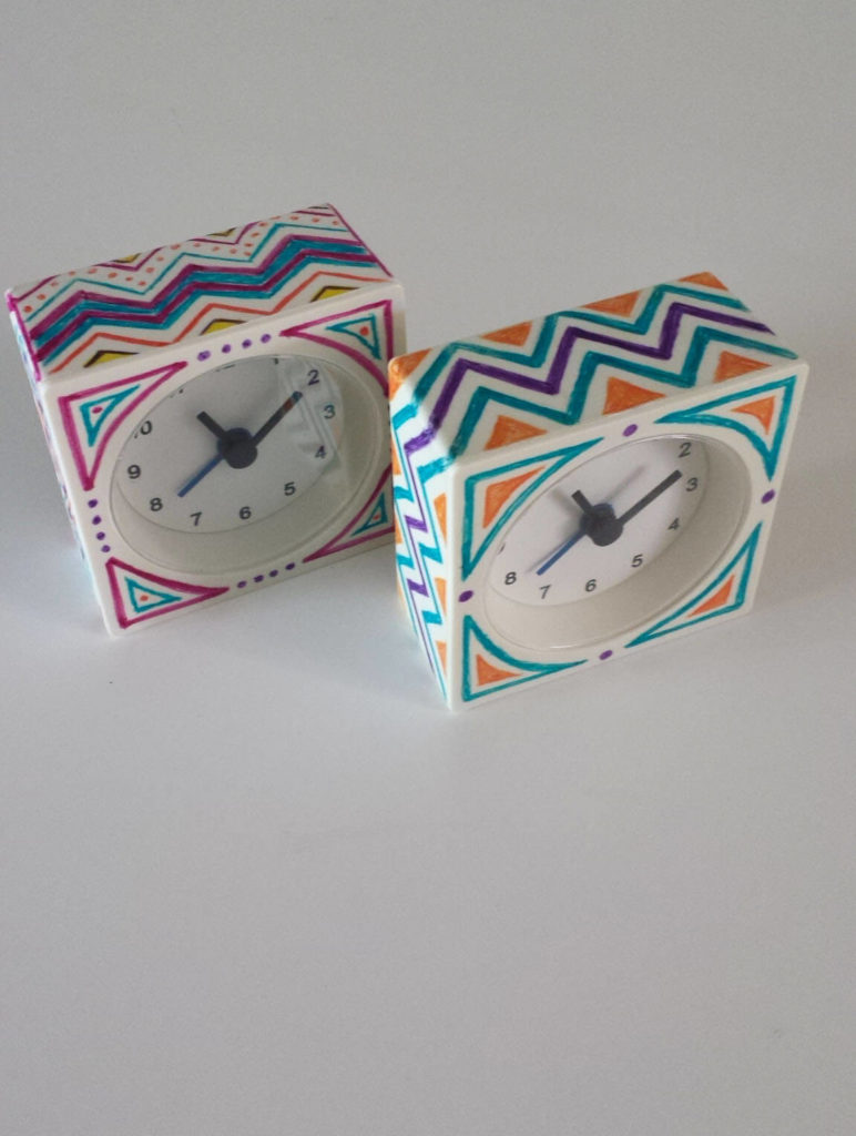 printed ikea hack sharpied alarm clock
