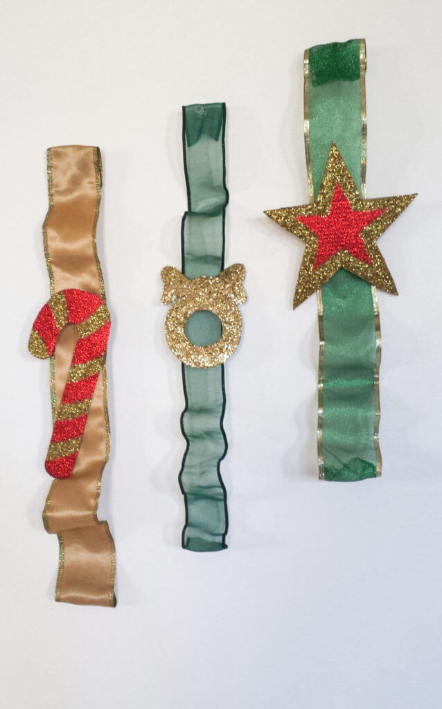 christmas ornaments on a ribbon