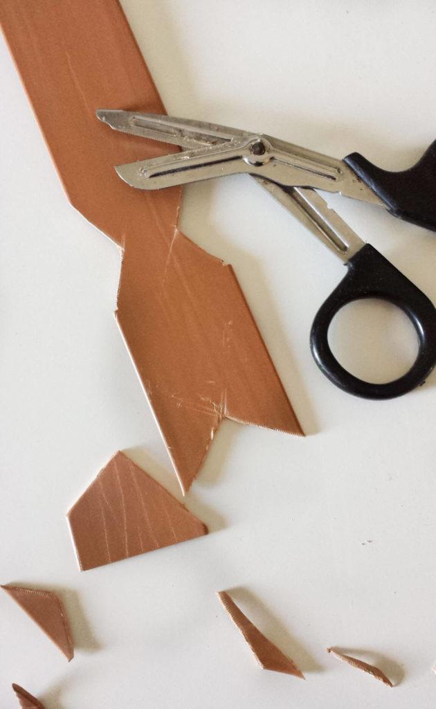 cut arrow shape for key holder diy