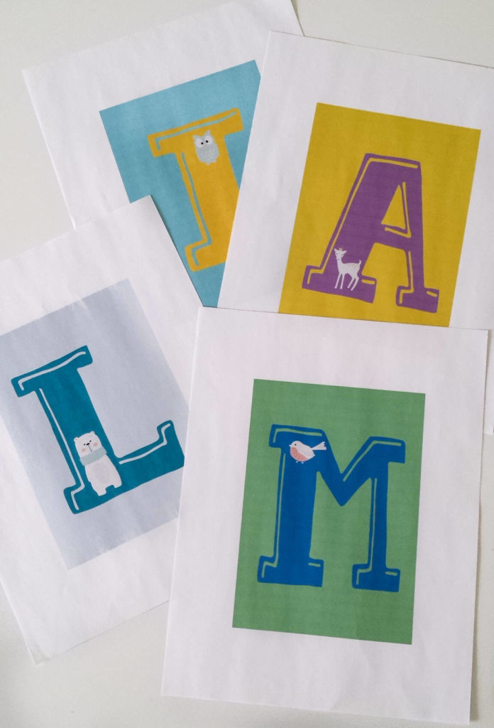 printed letters for nursery decor
