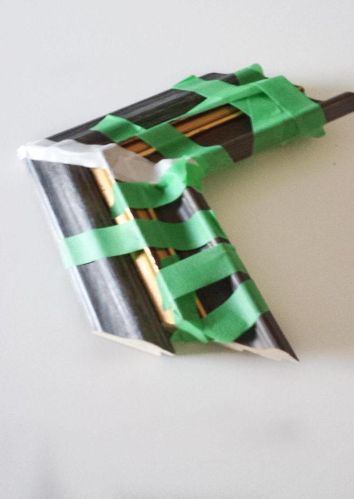 taped corner frames of key holder diy