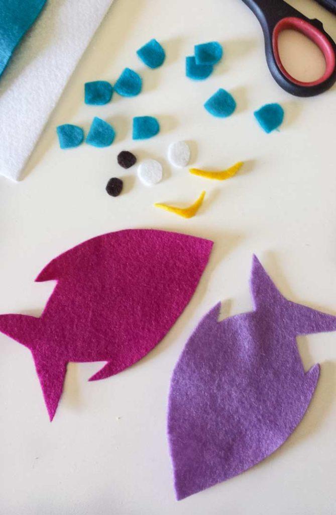 fish felt cut-outs coffee sleeve diy