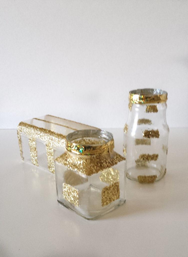 glittered conatiners for desk organizer