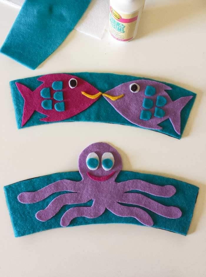 fish and octopus coffee sleeve diy