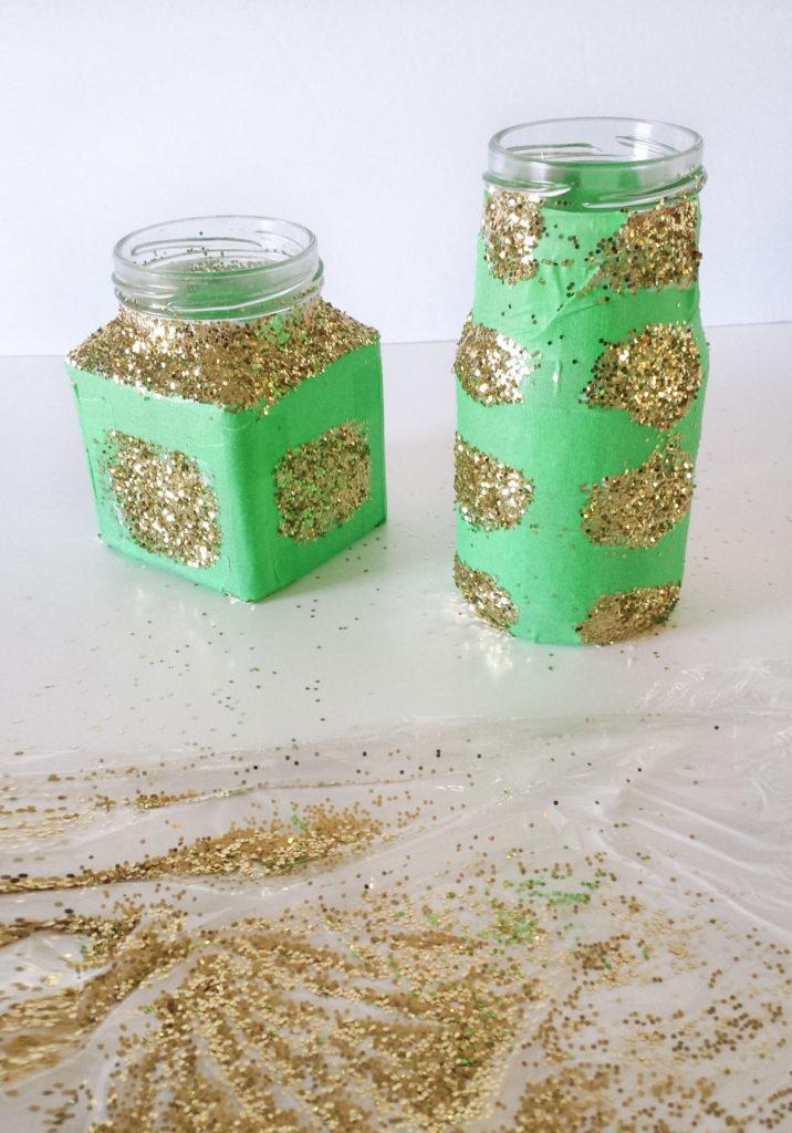 gold glittered glass jars desk orgainer diy