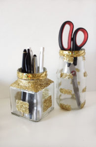 gold glittered jars for desk organizer