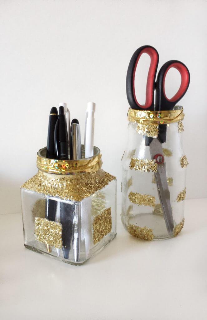 gold glittered jars for desk organizer