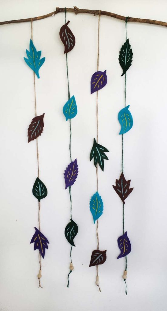 felt leaves wall decor