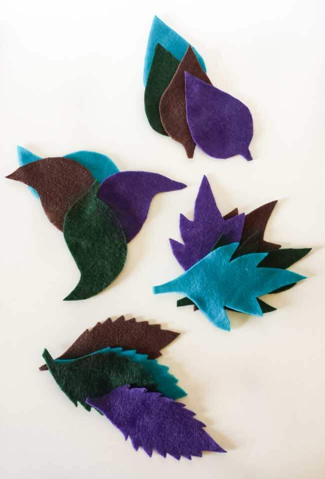 felt leaves cut out for wall decor