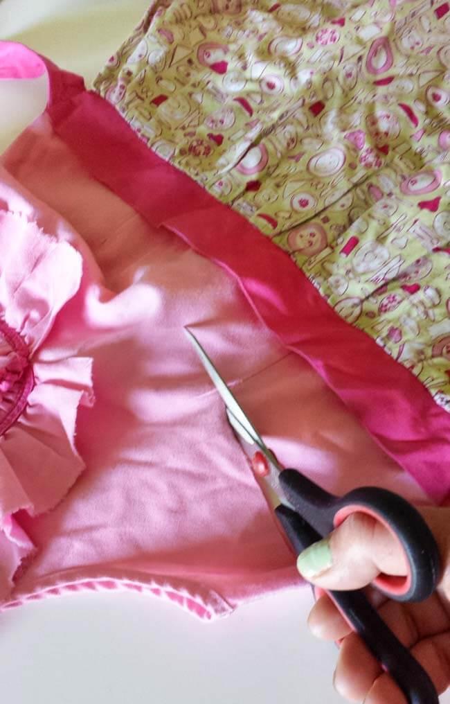 cutting top part of dress for bag diy