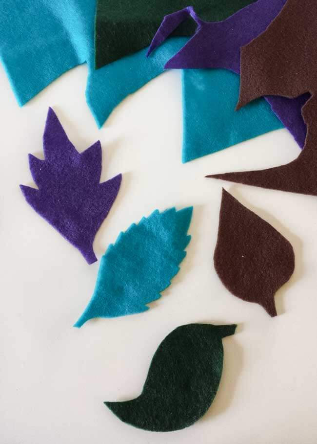 cut out leaves for felt leaves wall decor