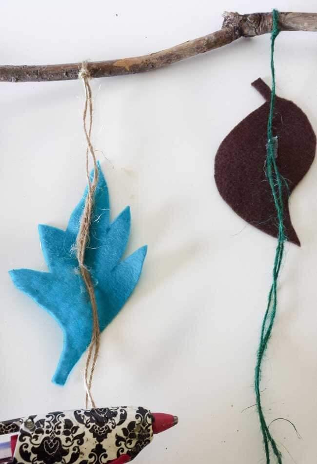 hot glue on felt leaves for wall decor