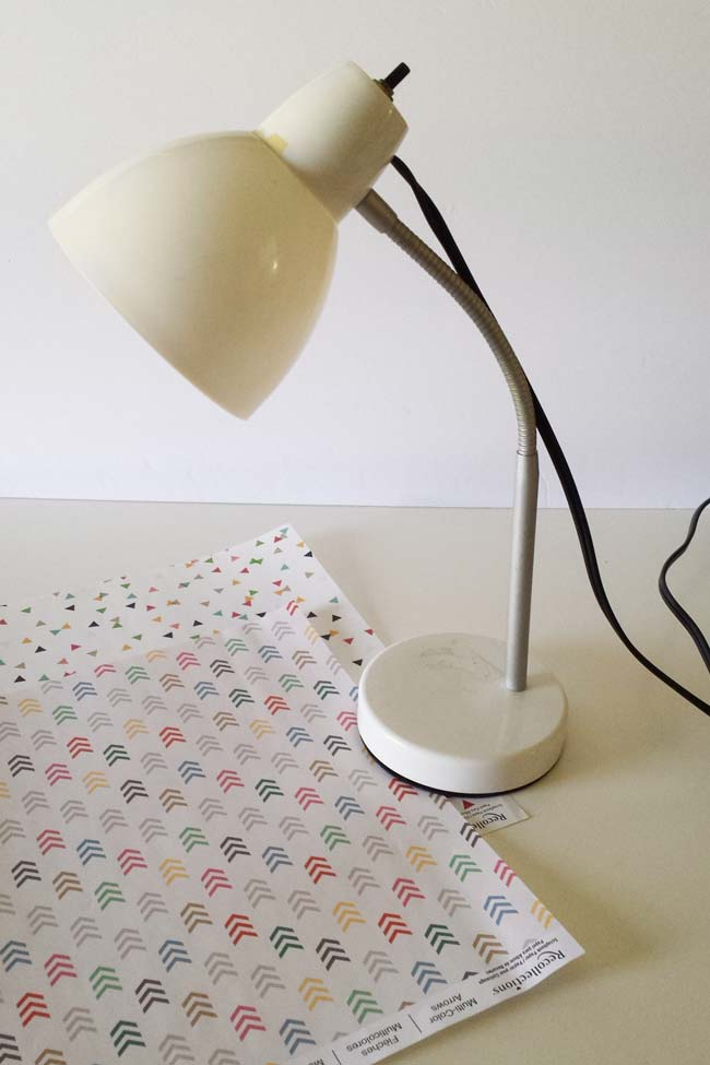 lamp and scrapbook paper for decoupage on lamp diy