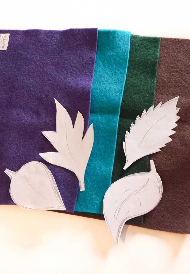 leaf templates for felt leaves wall decor
