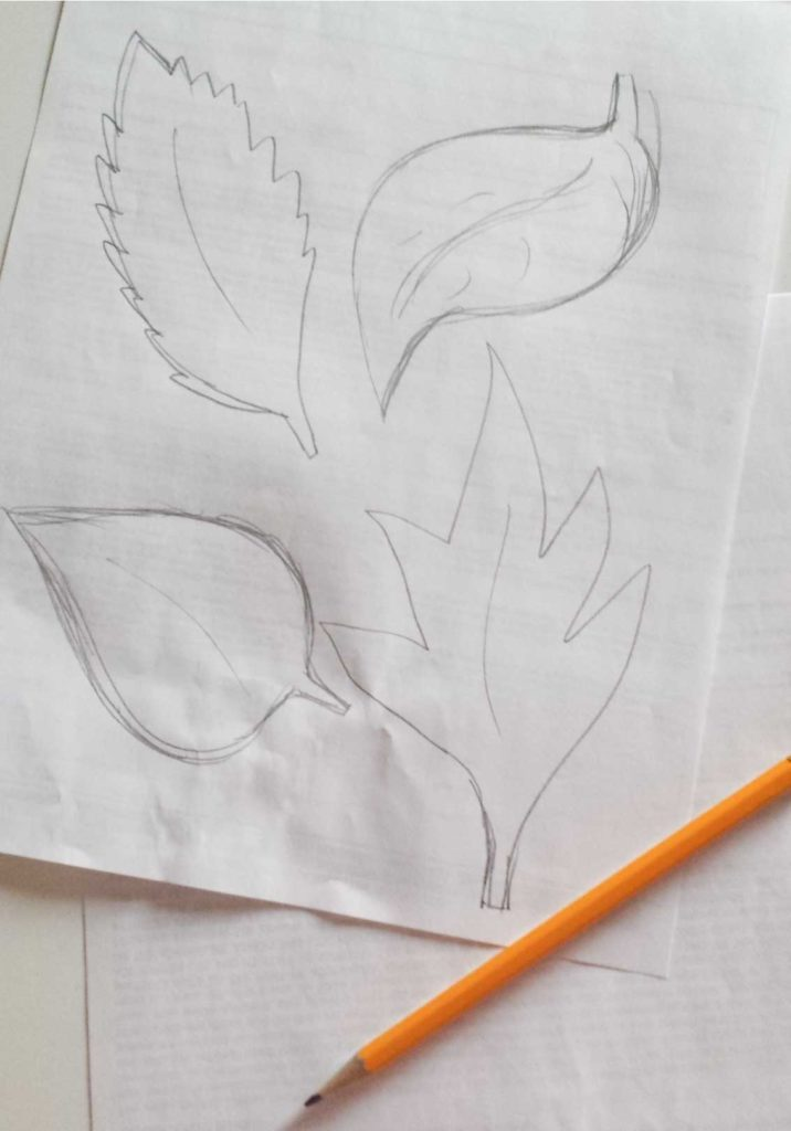 leaves drawing for felt leaves wall decor