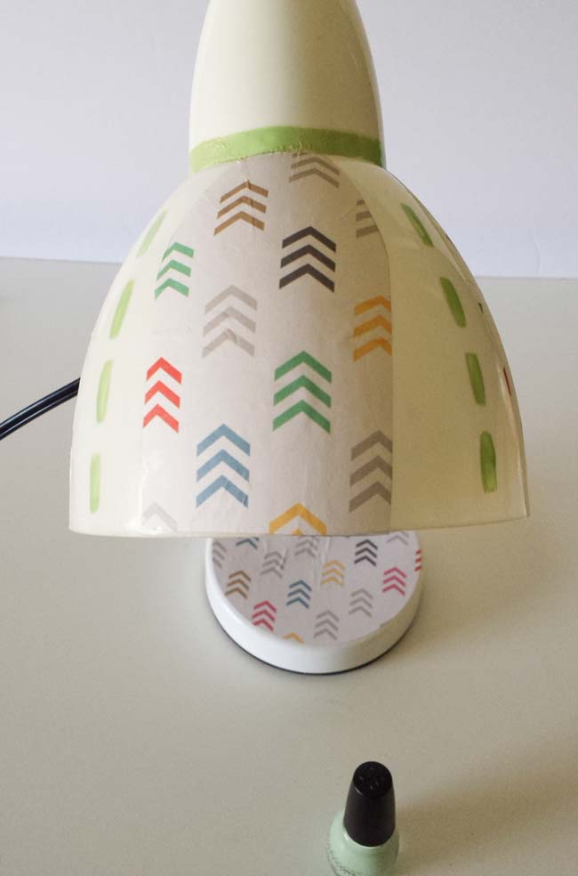 paint with polish on decoupage on lamp diy