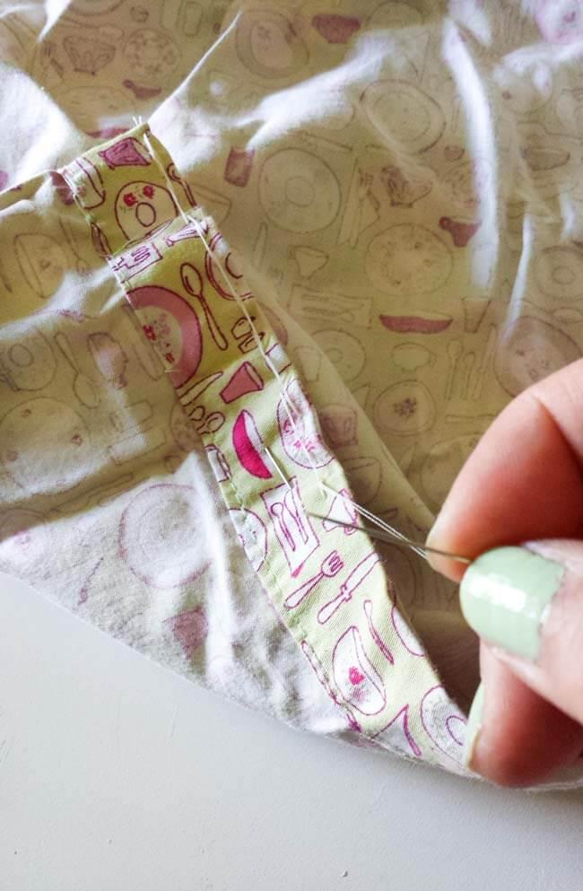 sew hem of bag diy
