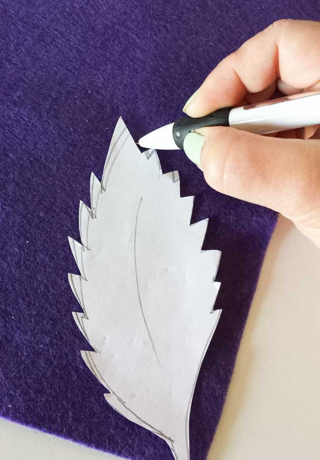 trace template for felt leaves wall decor