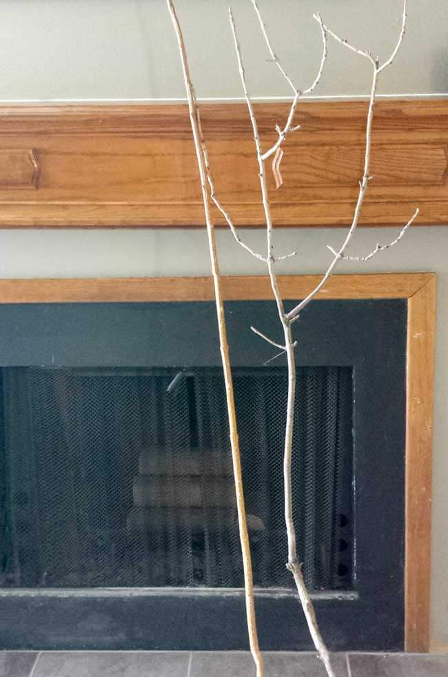 twigs for felt leaves wall decor